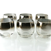 Set of Six Mid Century Roly Poly Glasses Mad Men Dorothy Thorpe Style with Ombre Rim