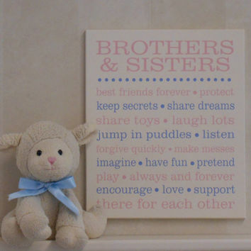 BROTHERS & SISTERS Baby Girl Nursery, Baby Boy Nursery, Twins Nursery Art, Sibling Gift, Subway Art, Baby Shower Gift, Wall / Room Art Decor