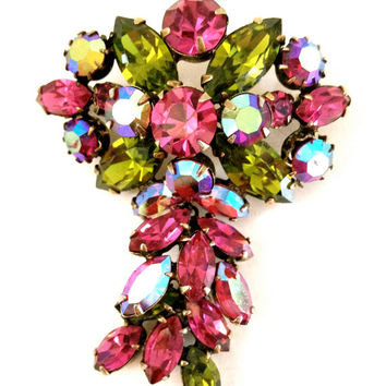 Regency Fuchsia and Green Rhinestone Brooch