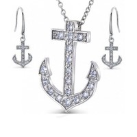 Bling Jewelry Sterling Silver CZ Anchor Pendant Necklace and Earrings Set