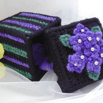 Jewelry Box Needlepoint Violets and Beaded Floral Treasure Box