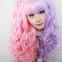 Cotton candy wig 70cm/60cm Long Pink And Purple cosplay wig Mixed Beautiful lolita wig Anime Wig,Colorful Candy Colored synthetic Hair Extension Hair piece 1pcs WIG-219A