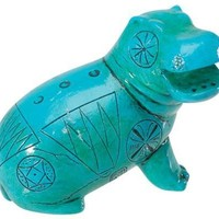 Egyptian Blue Green Hippo Miniature Statue 4L
