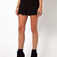 ASOS Shorts with Scallop Hem - Black