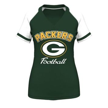 Women's Green Bay Packers Majestic Green Plus Size Go For Two IV V-Neck T-Shirt