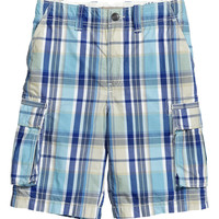 H&M - Cargo Shorts - Blue/Checked - Kids