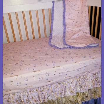 CLEARANCE 50% OFF 3 Tiered Ruffled Crib Skirt and Fitted Crib Sheet in Purple and Gold Ready to Ship by BeckaBugBaby on Etsy