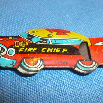 Vintage Cracker Jack Fire Chief Tin Lithograph Whistle Free Shipping