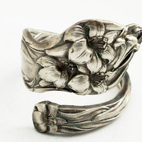 Spoon Ring Art Nouveau Lily Sterling Silver by Watson by Spoonier