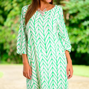 Never Bow Down Dress, Green-White