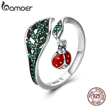 BAMOER 925 Sterling Silver Resting Ladybug Dangle in Tree Leaves Finger Rings for Women Sterling Silver Jewelry Gift SCR310