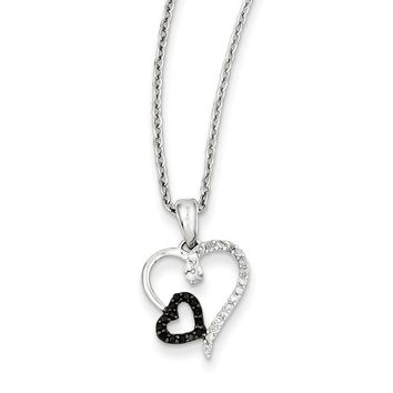 Black & White Diamond 13mm Double Heart Necklace in Sterling Silver