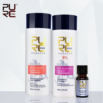 PURC Keratin set 8% formalin keretin treatment 100ml and purifying shampoo and 10ml argan oil make hair smoothing and shine
