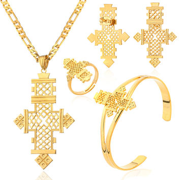 NEW Ethiopia cross Pendant rings bracelets earrings sets 22k Gold plated jewelry sets for Ethiopian & Eritrean  Women designs