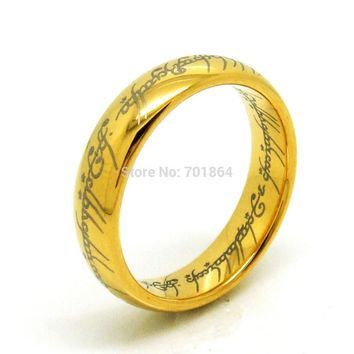 US Size 5 to13 The Tungsten Carbide One Ring of Power Width 6mm Gold / Silver / Black Fashion Movie Jewelry