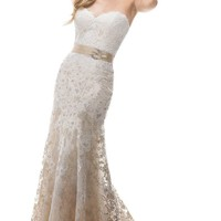 ZHUOLAN White Sweetheart Sheath Gown in Lace Wedding Dress