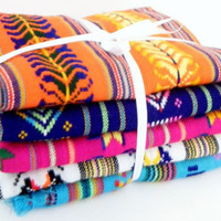 Aztec fabric, Mexican Fabric Bundle, tribal fabric by the yard,colorful tribal fabric by the yard.