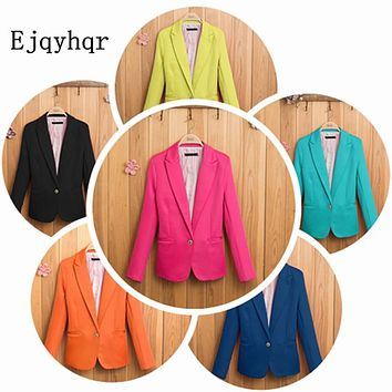 New Fashion Top grade Womens' Elegant shrug Blazer Suit Brand Single Button slim outwear casual coat bright color quality Vogue