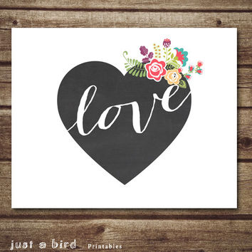 Love Heart Printable with flowers, Chalkboard heart print, Valentines Print, Valentine's day decor, Valentine gift, Instant Download