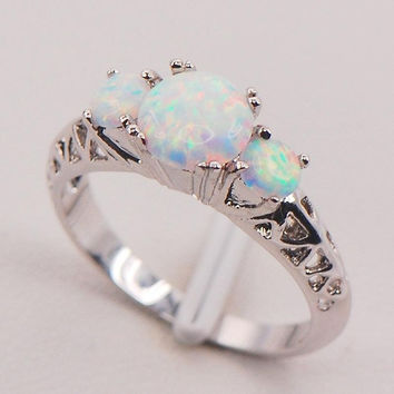 (With Christmas Gift Box)White Fire Opal 925 Sterling Silver Plated Fashion Jewelry Ring Size 6 7 8 9 10 11 = 1932210500