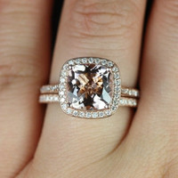 NEW Hollie 2013 Collection 14kt Rose Gold  Cushion Morganite Pave Halo  Wedding Set (Other metals and stone options available)