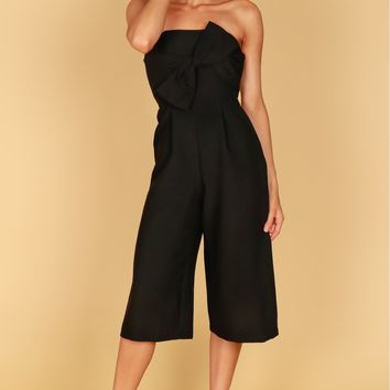 Bow Capri Jumpsuit Black