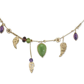 """9K Gold Necklace And Natural stones Connected to A 9K Gold Chain 18"""" Designed by Talma Keshet"""