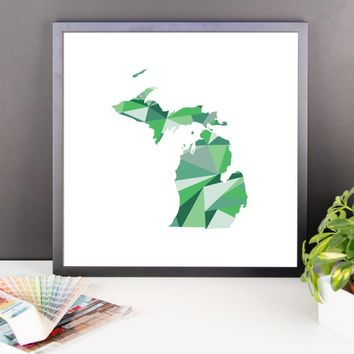 Michigan State Pattern Map Print