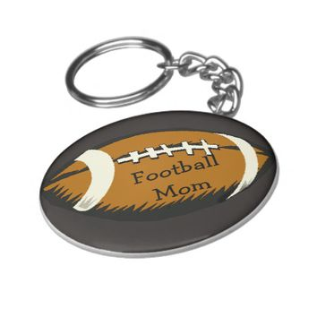 Sports Football Mom Brown and Black Keychain
