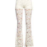 Crocheted Lace Flared Pants | Wet Seal
