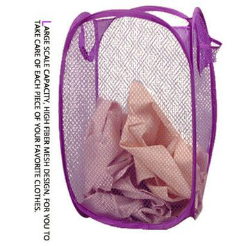 Foldable Pop Up Washing Clothes Laundry Basket Bag Hamper Mesh Storage Wonderful35%
