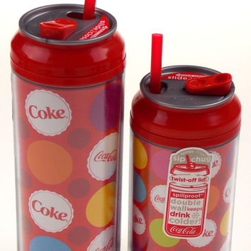 Coca Cola Travel Cups Set 2 Coke Bottle Caps Colors 12 & 16 oz Straw Double Wall
