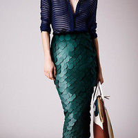 Opaque Sequin Embroidered Pencil Skirt