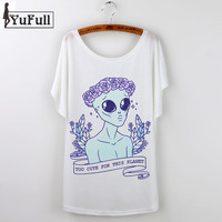 Alien T Shirt Casual Summer Tops Harajuku Print T-Shirt Women Funny Short Sleeve Tee White