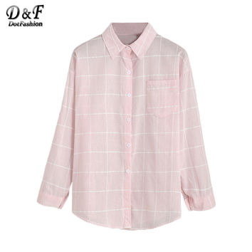 Dotfashion Pink Grid Drop Shoulder Lapel Shirt Women Long Sleeve Buttons Front Tops Fall Plaid Blouse