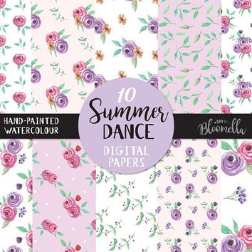 Watercolour Purple Pink Blooms Digital Papers - Wedding Summer Hand Painted INSTANT DOWNLOAD Flower Lilac Seamless Scrapbook PNG Leaves Leaf