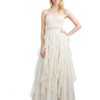Hailey Logan Strapless Gown with Floor Length Tulle Skirt