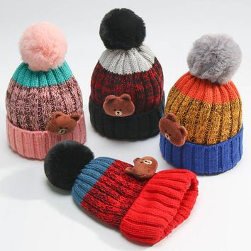 Kids Winter Thick Plush Pom poms Knitted Beanies Skullies Caps Cute Bear Children Cute Warm Hats For 2-7 years