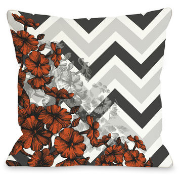 """Amber Chevron Floral"" Outdoor Throw Pillow by OneBellaCasa, Orange, 16""x16"""