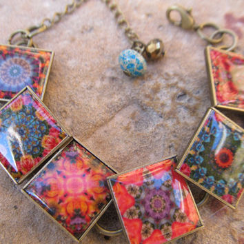 Gypsy Mini Quilt Tile Reproduction Bracelet