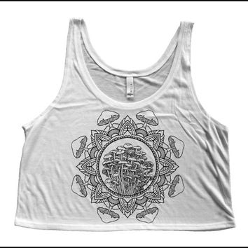Women's Mushroom Mandala Boxy Crop Tank Sacred Geometry Shirt