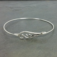 Angel Wing Bangle Bracelet - Sterling Silver Filled AW1