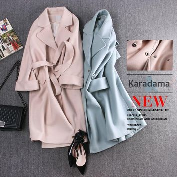 2017 autumn and winter New Arrival fashion Full sleeve Long Solid Turn-down Collar Belt Slim wool Casual women coat plus size