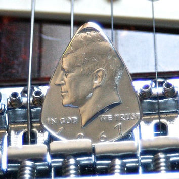 Silver Coin Guitar Pick -- 1967 Kennedy Half Dollar Guitar Pick