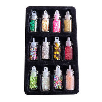 12pcs Nail Art Decorations Sequins Glitter Powder 12 Colors For Nail Accessories