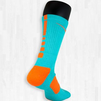 Turquoise and Orange Nike Elite Socks | Rock 'Em Apparel