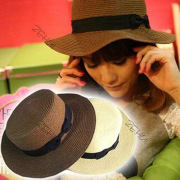 PEAP78W Chic Women Flat-topped Summer Beach Hat Bowknot Straw Boonie Fedora Cloche Hat
