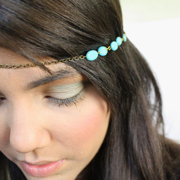Chain Headpiece Headband Hair Piece Bohemian Hipster Boho Hippie Bronze Turquoise Bridal Statement Jewelry Single Strand