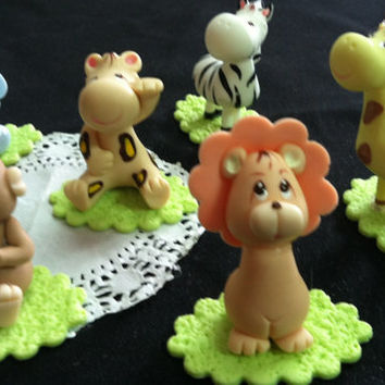 Jungle Safari Baby Animals, Jungle Animal Cake Topper, Lion Giraffe Monkey Elephant Cake Topper, Zoo Birthday Decorations, Safari Animals