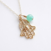 Hamsa Necklace with Jade in Gold